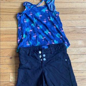 Flamingo Tank top With Black Three button Shorts